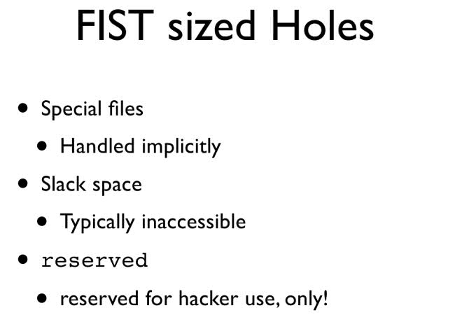 FIST sized Holes