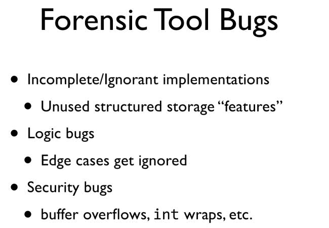 Forensic Tool Bugs