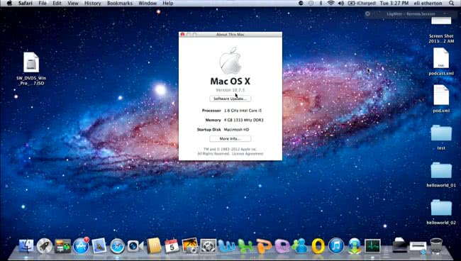 Mac OS version, processor and memory details