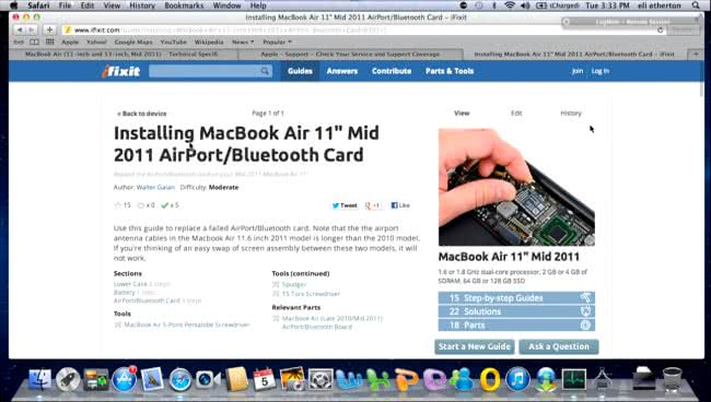 Fixing Mac Hardware with Internet guidance - replacing Bluetooth
