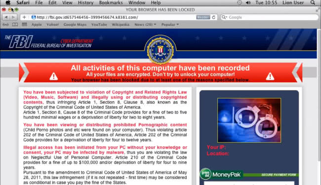 FBI Cyber Department MoneyPak virus in action on Mac OS X