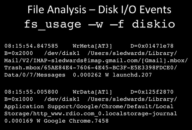 File Analysis fs_usage -w -f diskio