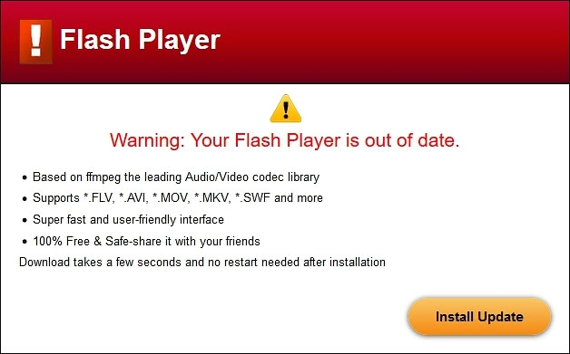Misleading update alert caused by a piece of adware