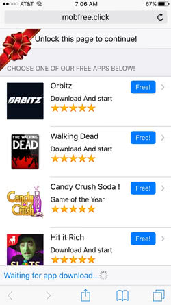 Annoying app recommendations on mobfree.click