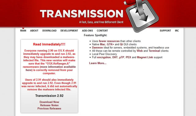 Official site of the Transmission app now contains a warning message