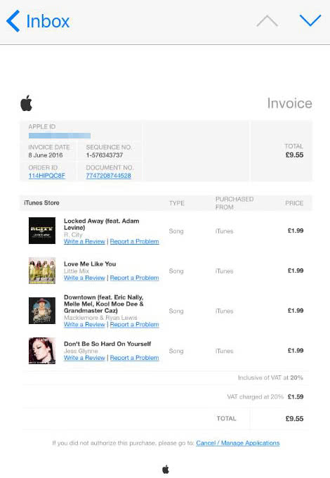 Fake Apple music subscription invoice sent over email