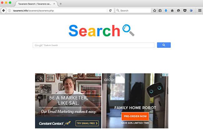Tavanero Search homepage