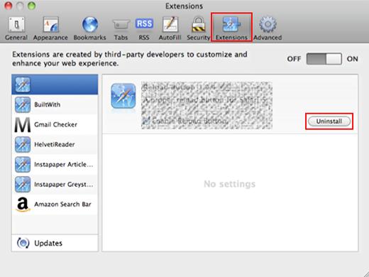 Uninstall malicious extension in Safari