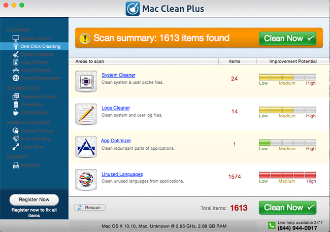 Misleading scan report by Mac Clean Plus