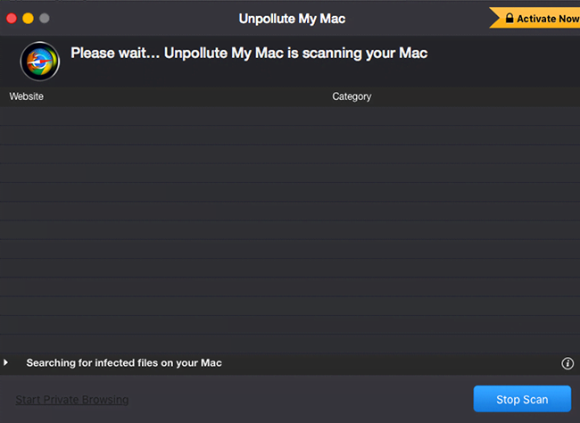 Unpollute My Mac displays rogue scans and reports inexistent privacy issues