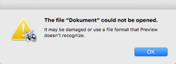 Error popup reporting an issue with the rogue Dokument file