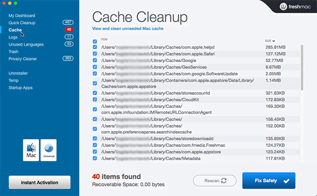 Cache Cleanup section of Freshmac scan report
