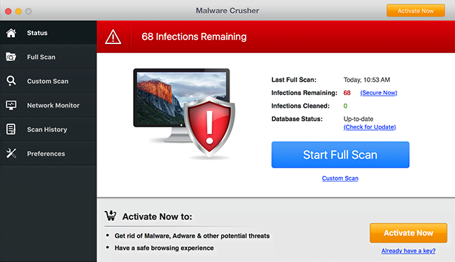 Malware Crusher reporting phony infections