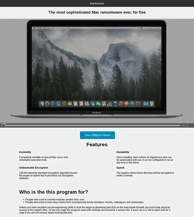 MacRansom product page