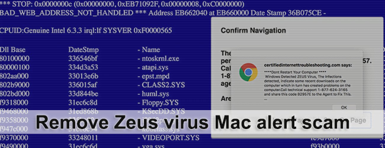 Remove Zeus virus Mac alert scam