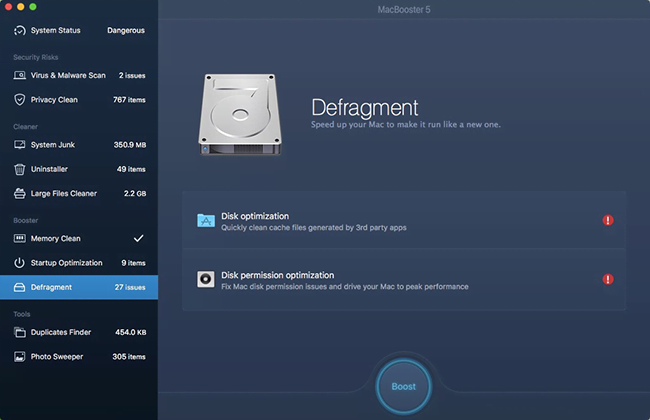 Defragment, a new module added to MacBooster 5