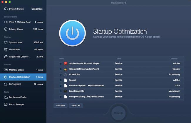 Startup Optimization screen