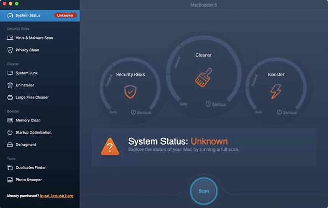 MacBooster System Status screen