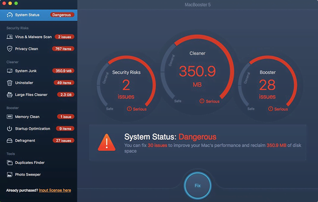 Updated system status information based on scan
