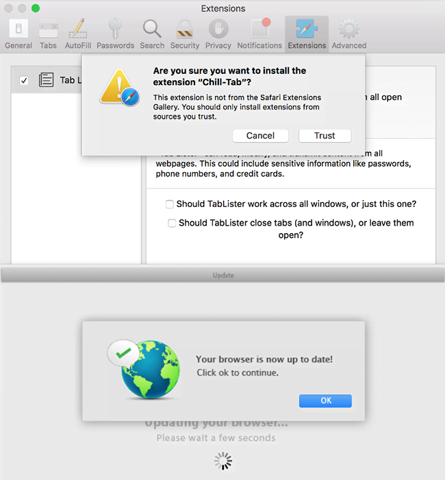 Browser mess caused by Chill Tab virus on Mac