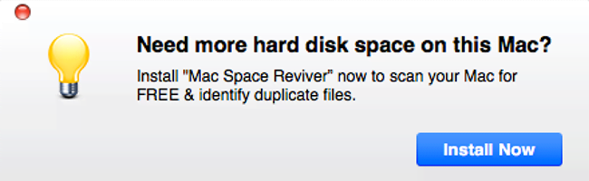 Popup ad pushing Mac Space Reviver